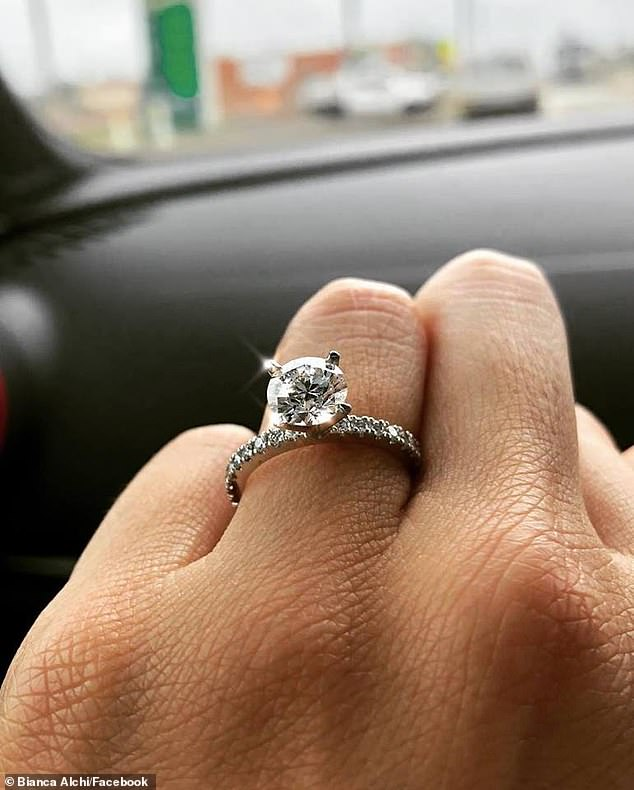 His act of generosity did not go to waste, with Ms Alchi managing to finish preparing for the big day on time (pictured, Ms Alchi's engagement ring)