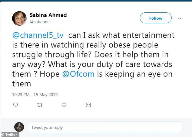 Sabina Ahmed questioned the 'entertainment' writing: 'what entertainment is there in watching really obese people struggle through life?'