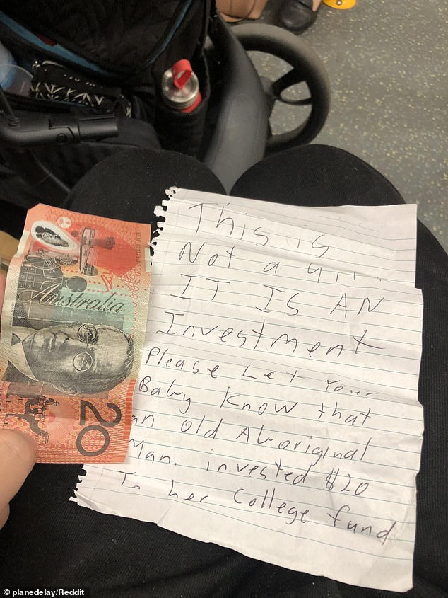 Act of kindness: The mum posted a photo on Reddit sharing the sweet note she received from a stranger who wanted to 'invest' in her daughter's college fund