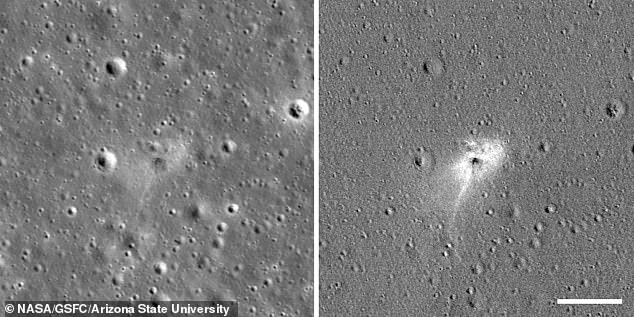 A new image captured by NASA's Lunar Reconnaissance Orbiter (LRO) on April 22 shows a fresh impact site on a region of the moon called Sea of Serenity, shown on left and right. The right image has been enhanced