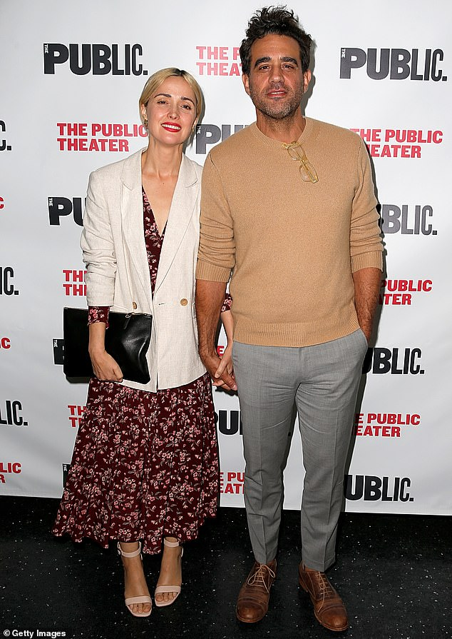 Power couple: Rose has been with American actor Bobby Cannavale, 49, since 2012, the couple share sons Rocco, three, and Rafa, one. Pictured in April