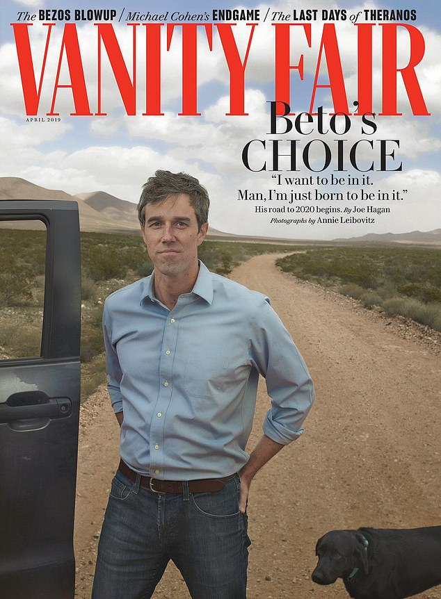 O'Rourke launched his campaign in the April issue of Vanity Fair, and the cover story was titled 'Beto's Choice: His road to 2020 begins.' In the article, O'Rourke said he was born to be president. He faced a backlash for the comments he made