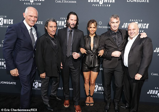 Coming soon:Joe Drake, co-chair, Lionsgate Motion Picture Group; Ian, Keanu, Halle, Chad Stahelski, director/executive producer and Nathan Kahane, president of motion pictures at Lionsgate got together at the LA premiere