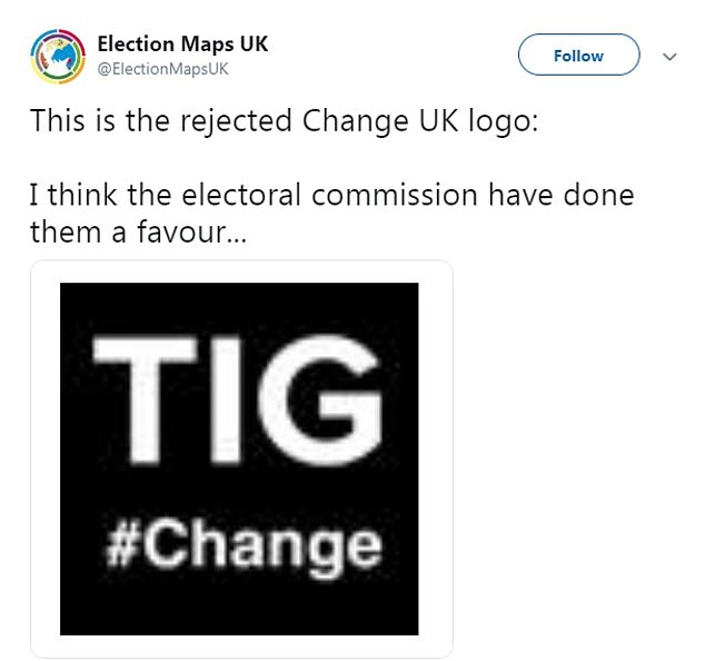 Change UK had this logo banned because it used a hashtag, the Electoral Commission said