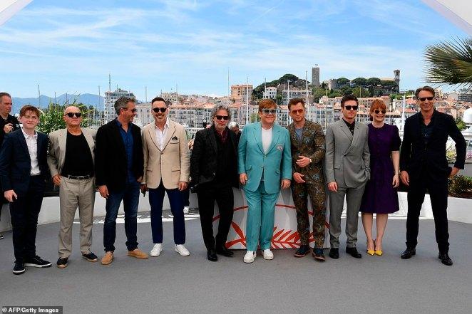 The brains behind the magic: (L-R) British actor Kit Connor, Songwriter Bernie Taupin, British film producer Adam Bohling, Furnish, Dexter, Elton,Taron , Richard and Bryce Dallas Howard