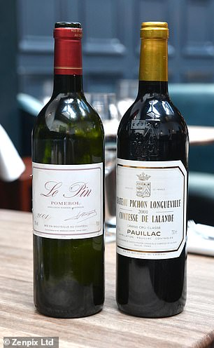 Pictured, right, the wine the customer was set on ordering when he was handed the £4,500 red (left)
