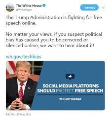"""Image result for """"No matter your views, if you suspect political bias has caused you to be censored or silenced online, we want to hear about it!"""" the White House account tweeted Wednesday."""