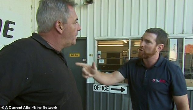 Akermanis paid a visit to the Commercial Club Albury, where he has been banned, and confronted president Graeme Edgar (left) about allegations of misconduct