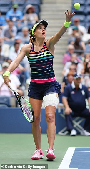 Results showed Gibbs had salivary gland cancer, a rare form of cancer that forms in the tissues of the glands that make saliva. Pictured: Gibbsduring the Women's Singles round two match at the US Open, August 2017