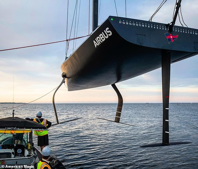 The crew completed 'dry laps', meaning the Mule's hull never touches the water as it flies on foils