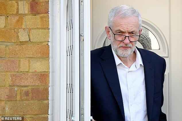 The Palestinian terror group Hamas has officially thanked Britain's opposition Labour Party leader Jeremy Corbyn for his support (pictured: Mr Cobyn leaving his home in London yesterday)