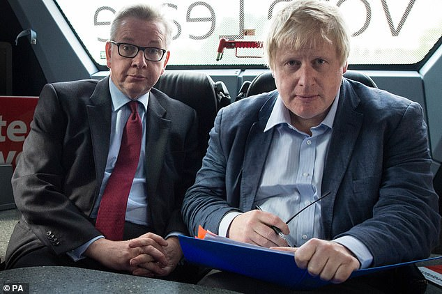 After David Cameron quit in 2016, Mr Johnson was a strong favourite to succeed him but pulled out after his Brexiteer colleague Michael Gove (left) withdrew support at the last minute