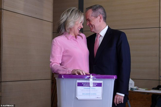Australian Opposition Leader Bill Shorten and his wife Chloe share a moment after casting their votes at Moonee Ponds West Primary school in Melbourne