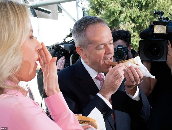After casting his vote in Moonee Ponds, Victoria and awkwardly eating a democracy sausage, the Labor leader gave a short speech outlining his priorities for government