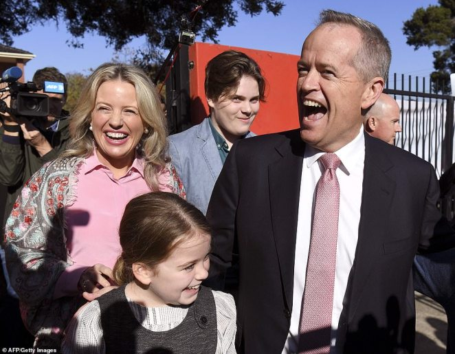 Reason to be confident: Bill Shorten and his wife Chloe voted at a polling station in Melbourne's Moonee Ponds today