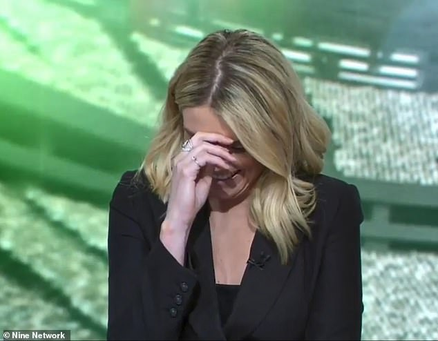 Erin Molan (picture) couldn't contain her giggles and attempted to hide her face as she continued to laugh