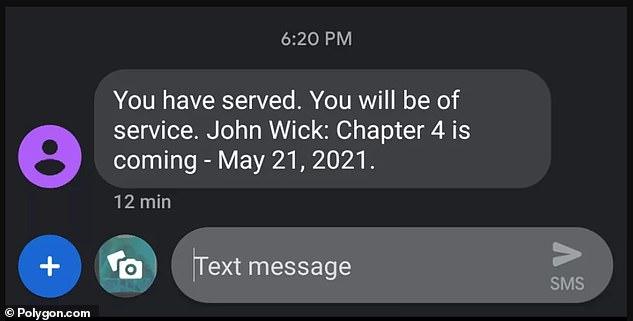 Servido: 'Has servido. Estarás de servicio. John Wick: Capítulo 4: 21 de mayo de 2021 ', decía el mensaje de texto (cortesía de Polygon), revelando la fecha de lanzamiento oficial.