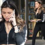 Madison Beer Cuts A Casual Figure In A Tiny Cropped Zip Up Jacket And Skintight Leggings In La Daily Mail Online