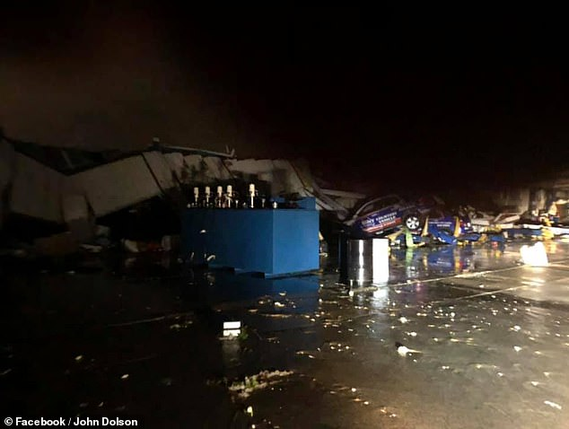 The tornado damaged dozens of cars at the Chevrolet lot Wednesday night