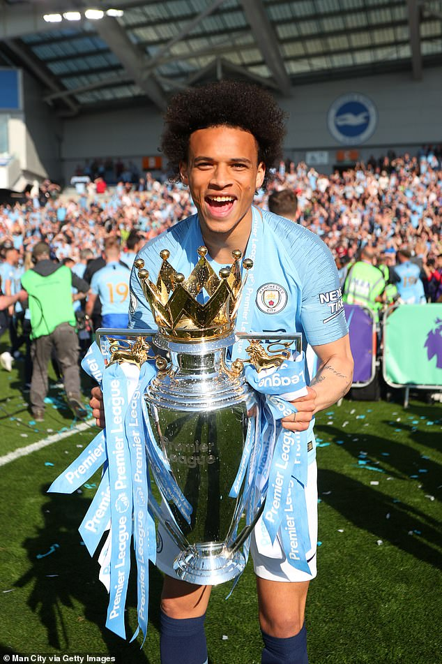 Leroy Sane shows off the Premier League trophy after City's title win but he could be leaving