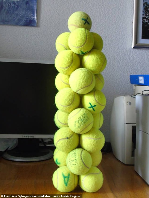 Towers of stacked tennis balls in shapes that look like they are defying gravity ¿ although require no glue to stay upright ¿ have been built by a physicist. He has even succeeded in creating a thin, nine-story tower made up of just 25 balls ¿ and could go higher still