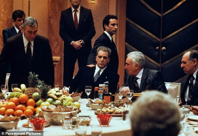 On screen:Caridi played two different roles in The Godfather franchise as Carmine Rosato in Godfather II and then Albert Volpe in The Godfather III (pictured next to Al Pacino and Andy Garcia center right)