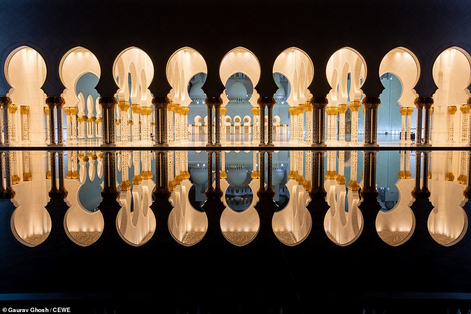 As the month of Ramadan begins, the beautiful arches and pillars of the Sheikh Zayed Grand Mosque in Abu Dhabi are reflected in this shot by Gaurav Ghosh. It is the largest mosque in the country and during peak times it can accommodate more than 41,000 people