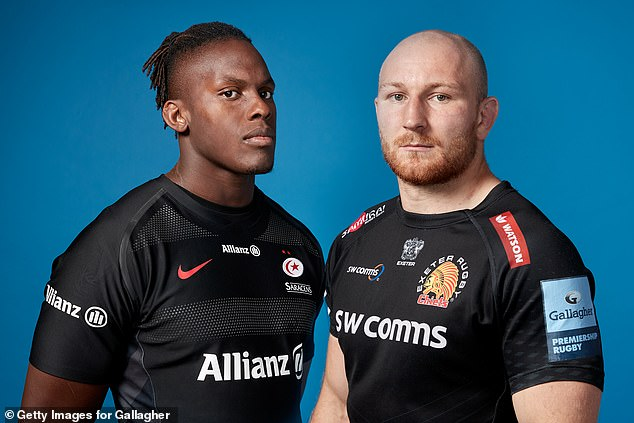 Saracens' Maro Itoje and Matt Kvesic of Exeter Chiefs ahead of the Premiership rugby final