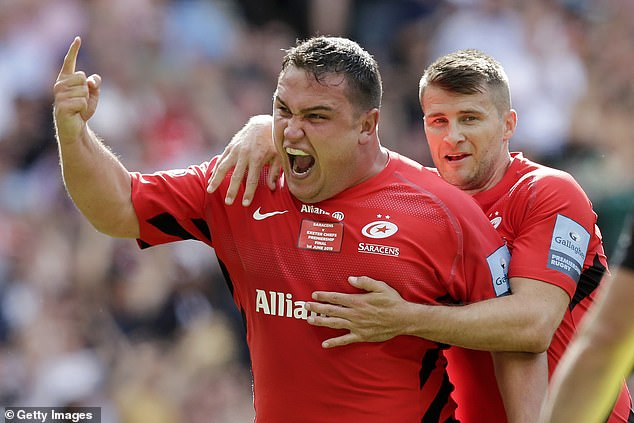 Jamie George grabbed two tries for Saracens in the final and is now England's starting hooker