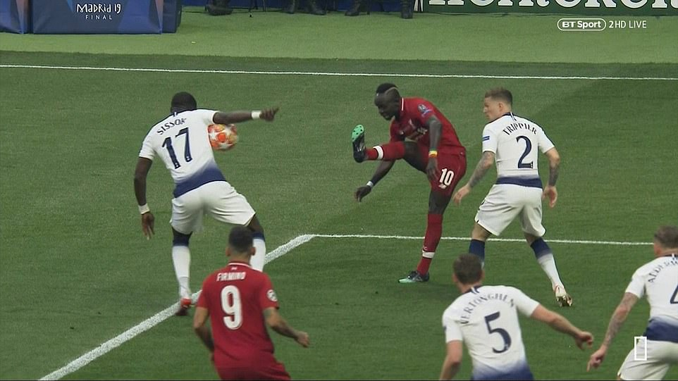 Sadio Mane's attempted cross was blocked by the outstretched arm of Moussa Sissoko, leading the referee to give a penalty
