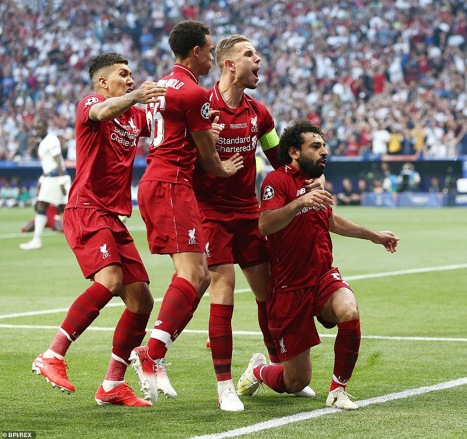 Liverpool captain Jordan Henderson is joined by Roberto Firmino and Trent Alexander-Arnold to celebrate the early strike