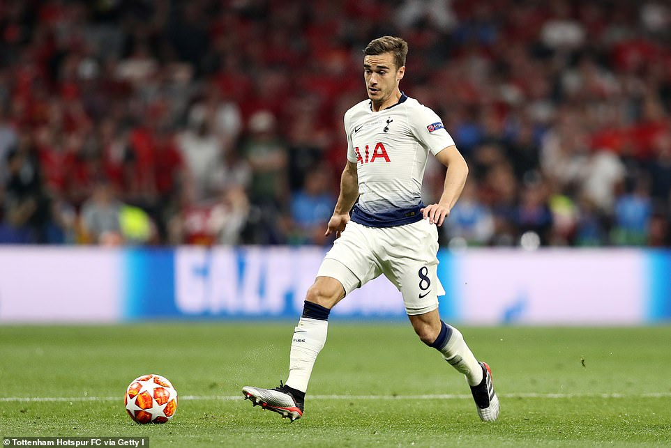 Harry Winks takes control of possession for Tottenham as they slowly built some momentum after half time in Madrid