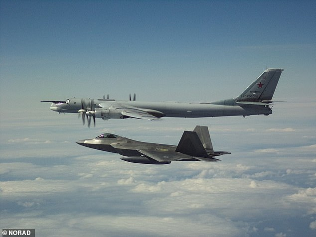F-22 stealth jets intercepted four Russian bombers and two Russian Su-35 fighter jets off the coast of Alaska and four Russian Tupolev Tu-95 bombers (one shown above)