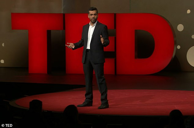 Journalist Wajahat Ali learned his daughter had stage four liver cancer just three hours before delivering a TED talk on the importance and joy of having children (pictured) last month