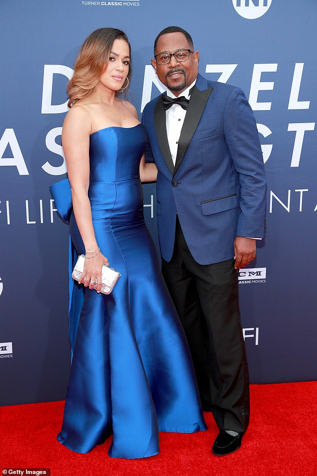Bold in blue! Martin Lawrence and Roberta Moradfar coordinated in shades of blue