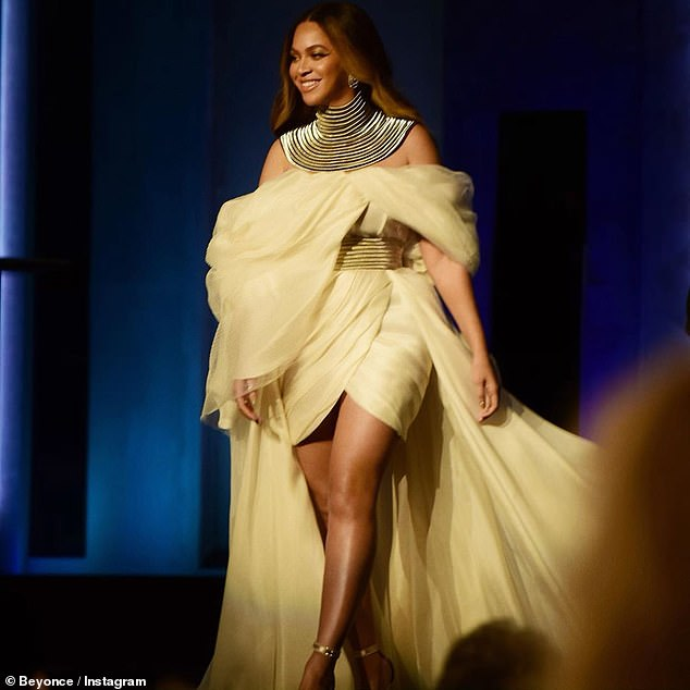 Golden girl: Beyonce looked every inch the goddess as she made a surprise appearance a the AFI Awards