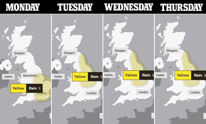The Met Office has issued four severe weather warnings for rain starting at 4am on Monday until midday on Thursday