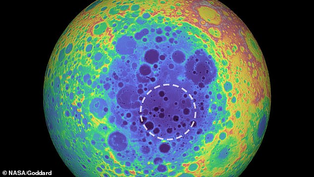 Scientists have detected a mysterious mass of material beneath a 1,200-mile crater on the surface of the moon (circled).The simulations suggest that the material could be from the iron-nickel core of an asteroid
