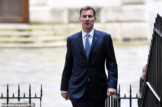 Jeremy Hunt (pictured in Downing Street today) has been grilled by Tory MPs at a hustings