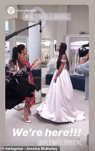 Working hard: The brunette beauty took to Instagram to reveal she was on the way to 'surprise style' brides-to-be at Kleinfeld bridal store in Chelsea, Manhattan for GMA