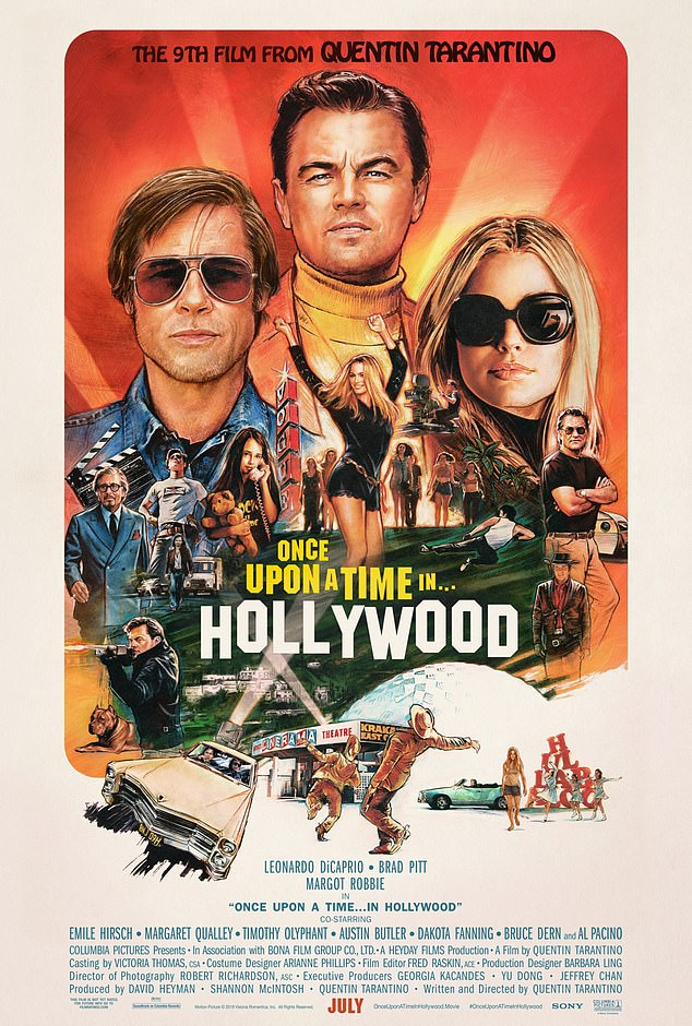 Retro! Sony Pictures dropped an all-new vintage inspired poster for Quentin Tarantino's upcoming flick Once Upon a Time in Hollywood starring Brad Pitt, Leonardo DiCaprio and Margot Robbie