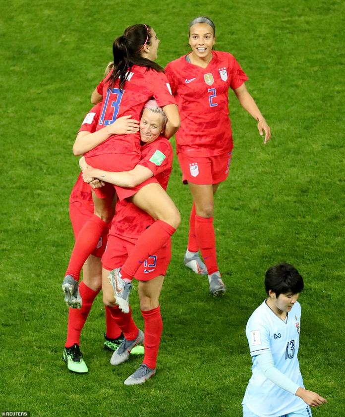 Alex Morgan of the US celebrates scoring the goal of the game