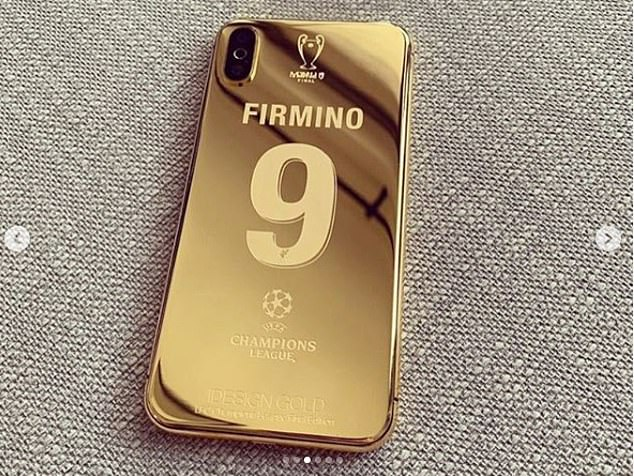 The customised phones also feature the Champions League logo and a picture of the trophy