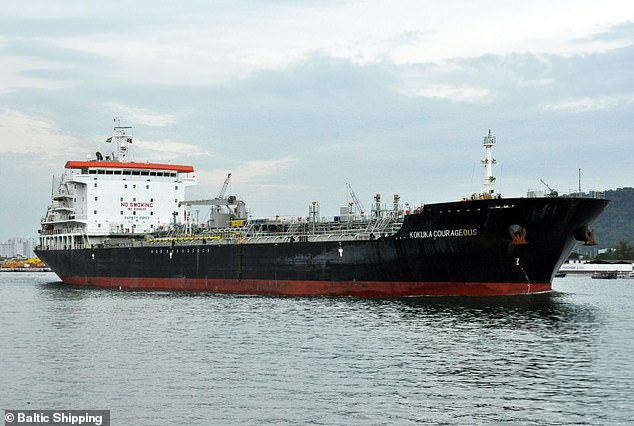One shipping broker said the Courageous Kokuka (file photo), one of the ships apparently attacked in the Middle East today, may have been targeted with a magnetic mine