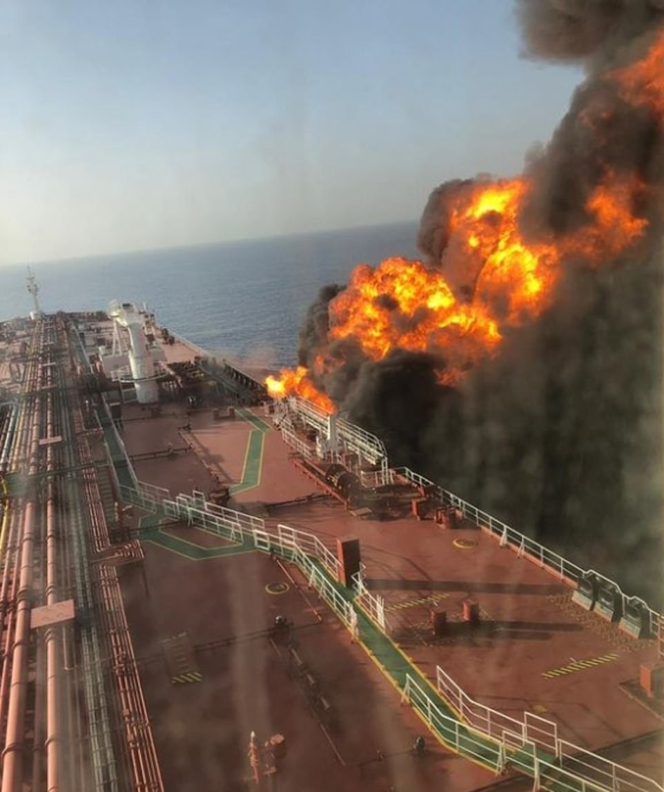 Inferno: A fire rages on board the oil tanker MT Front Altair after it was hit by an explosion in the Gulf of Oman today, in what has been described as a tornado attack