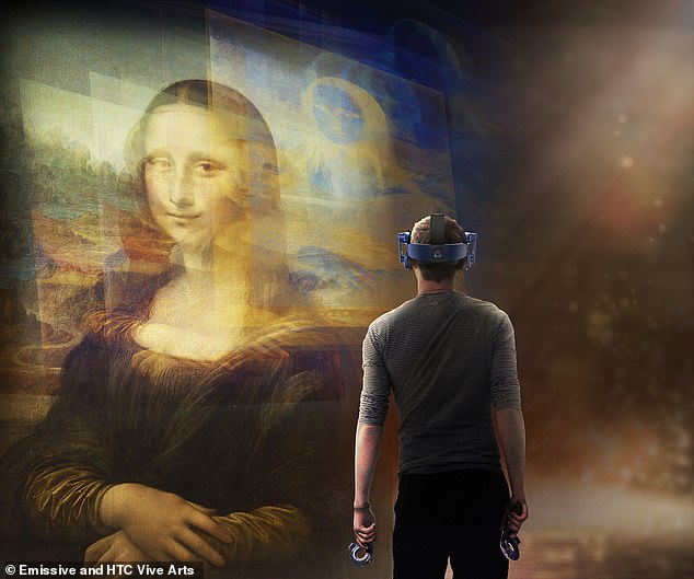Thousands visit the enigmatic Mona Lisa, in Paris' Musée du Louvre, each day — but a VR exhibit will soon let you avoid the crowds and get close to the portrait at home (Pictured: an artist's impression of the virtual experience)