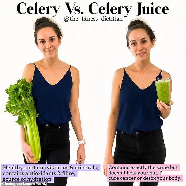 Die gute Nachricht, sagte Leanne (im Bild), ist, dass Selleriesaft voller Antioxidantien und Ballaststoffe ist und auch sehr feuchtigkeitsspendend