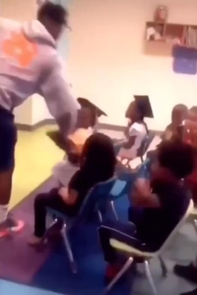 The teacher asked the student who made the outburst if he needed to be removed from the classroom, to which he responded: 'No b****!' An adult then stepped him to pull him outside