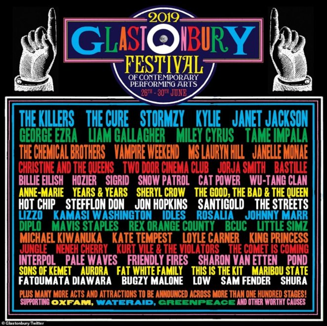 Glastonbury 2019 is set to take place at Worthy Farm in Somerset, South West England, between June 26 and June 30, with revellers already starting to make their way to the world-famous site. This year's top acts include Stormzy, George Ezra, The Killers, The Cure, Miley Cyrus, Billie Ellish, Liam Gallagher, Janet Jackson, Vampire Weekend and Lauryn Hill