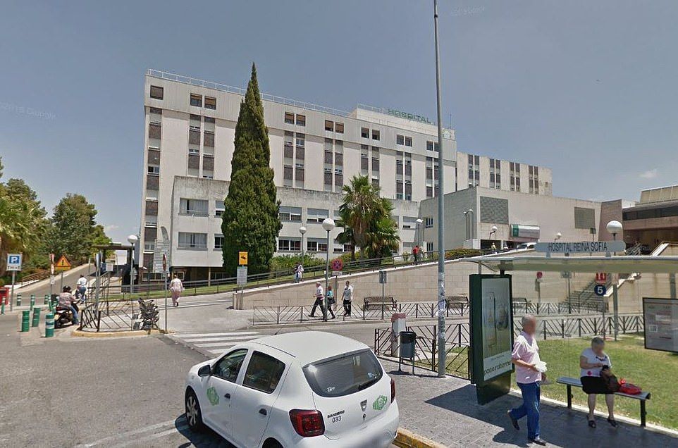 The unnamed teenager, who was from the village of Castro del Rio in Cordoba province which is famed for its olive oil and furniture made from olive oil, died at 1.25am at Cordoba's Reina Sofia Hospital (pictured)